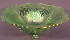 "Fostoria Palm Leaf Green 12"" Bowl"