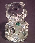 Fenton Crystal Bear with Green Heart