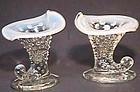 Fenton French Opalescent Hobnail Cornucopia Candlesticks