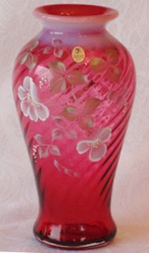 Fenton Cranberry Spiral Optic 10 Vase Item 1324587