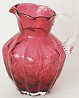 Fenton Country Cranberry Fern Optic Jug