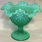 Fenton Green Opalescent Hobnail Compote, 7.5