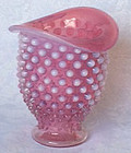 Fenton Cranberry Opalescent Wide Mouth Mini Vase