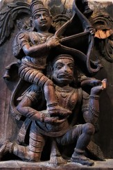 Chariot carving depicting Lord Rama on Hanuman's shoulders. 19th C. India