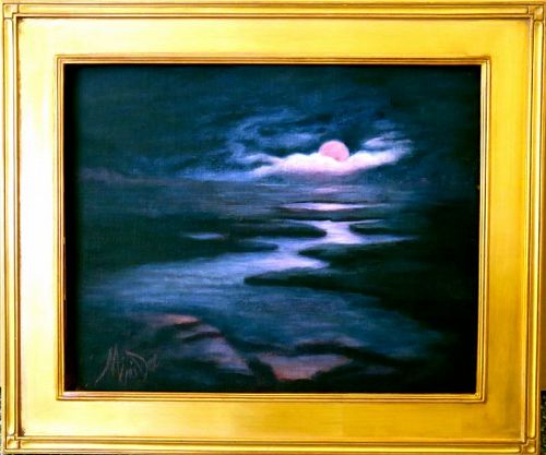 Signed American Original Mimi Dee Nocturne Marsh Moon Inky Blue