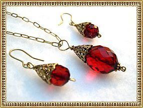 Cherry Red Amber Necklace Earring Set Gold Sterling