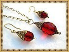 Faceted Cherry Red Necklace Earring Set Gold Sterling