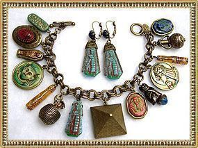 Molded Czech Art Glass Egyptian Tut Scarab Cat Charm Bracelet Ear