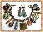 Molded Czech Art Glass Scarab Cat Charm Bracelet Ear