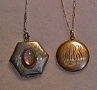 2 Vintage Locket Jelly Opal Dragons Breath W Hough