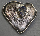 Vintage Sterling Silver Charles Skiera Heart Pin Opal