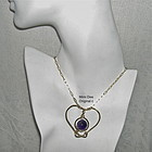 Signed Studio Hand Hammered Heart Pendant w Chain