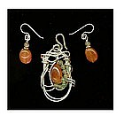 Sterling Signed Pendant Carnelian Set