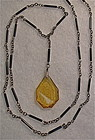 Vintage etched amber black glass necklace