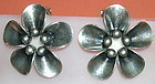 Auction Vintage Denmark N E From Sterling Clip Earrings Floral