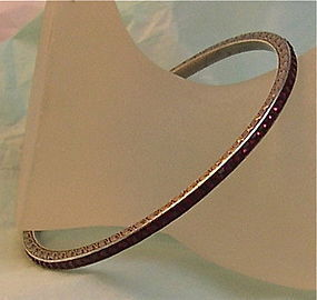 Vintage Deco 935 Silver Channel Set Bangle Bracelet