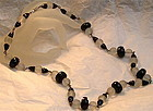 Vintage Deco Black Frosted Crystal Glass Necklace
