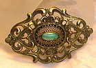 Vintage Green Peking Art Glass Cab Brass Sash Pin