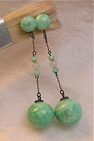 Vintage Deco Sterling Green Art Glass Earrings SB