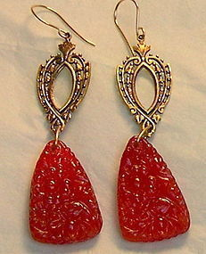 Grapefruit Red Pressed Art Glass 24K GP Earrings