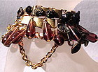 Charm Bracelet 24K GP Bookchain Victorian Button Trio