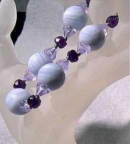 Blue Lace Agate Amethyst Bracelet, Alexandrite Glass