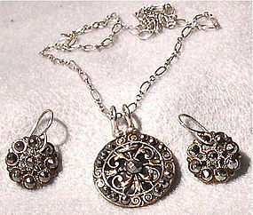 Sterling Cut Steel Antique Button Necklace Earring Set