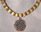 Fancy Book Chain 24K GP Choker Antique Button Steel
