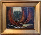 Signed Oil O/C Painting Landscape Redwood Trees