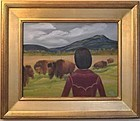 Signed Oil OC Painting Landscape Inside Bison Enclosure