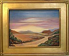 Signed Oil O/C Landscape Painting Road Mountains