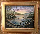 Signed Oil Linen Painting Landscape Birches Lake Boat