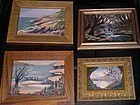 Signed Mini Oil Landscape Painting 4 Beach Boat Birches