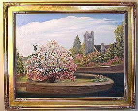 Signed Oil O/C American Tree Painting Magnolia