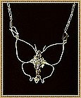 Signed Sterling Silver Necklace Butterfly Pendant Gems