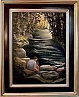 Signed American Oil Landscape Painting Father's Day