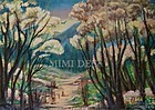 Signed American Original Oil Landscape Painting - Woodland Path I
