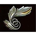 Maricela Sterling Silver Leaf Swirl Pin Taxco