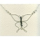 Signed Sterling Silver Butterfly Necklace Onyx Gems