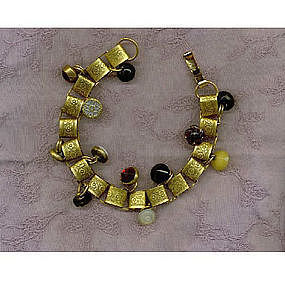 Charm Bracelet Bookchain 12 Victorian Button 24K GP