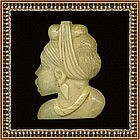 Vintage Carved Ivory Pin Brooch African Woman