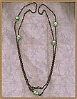 Vintage Gun Metal Longchain Green Glass Beads Crystal