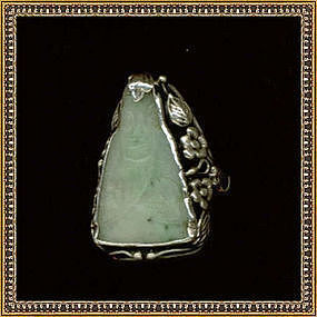 Vintage Arts Crafts Sterling Silver Ring Carved Jade