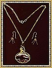 Signed Necklace Set Large Mookite Pendant Garnet Gems