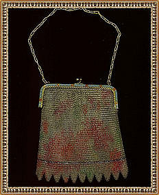 Vintage Multi Color Mesh Purse Blue Red Enamel Frame