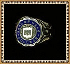 Yale Sterling Ring Blue Enamel Lux & Veritas