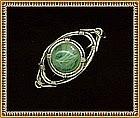 Sweet Sterling Brooch Green Art Glass Cab*