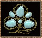 "Art Nouveau Brass Pin Brooch Blue Cabs Curly ""C"""