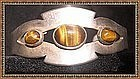 Vintage Mexican Sterling Silver Cuff Tiger Eye Cabs 3