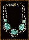 Art Deco Festoon Bib Turquoise Pierced Peking Glass